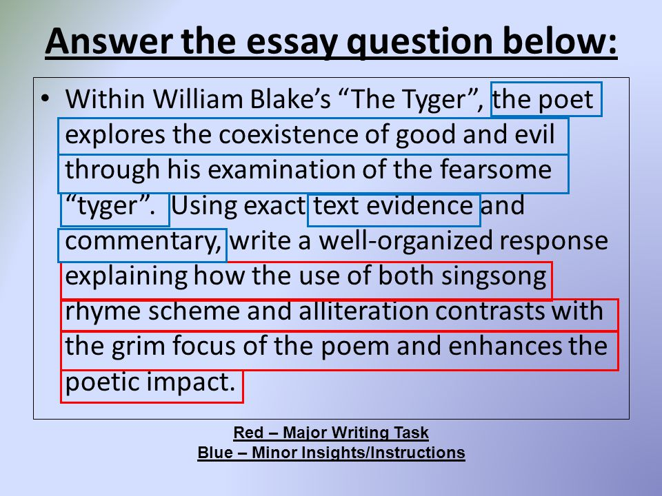 "the lamb and the tyger essay Discussion questions for ""the lamb"" and ""the tyger"" and other blake poems answer questions on your own paper and attach to this handout."