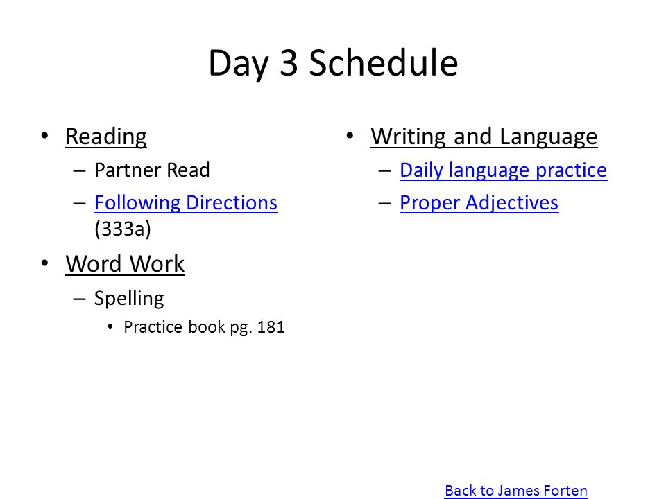 Day 3 Schedule Reading Word Work Writing and Language Partner Read
