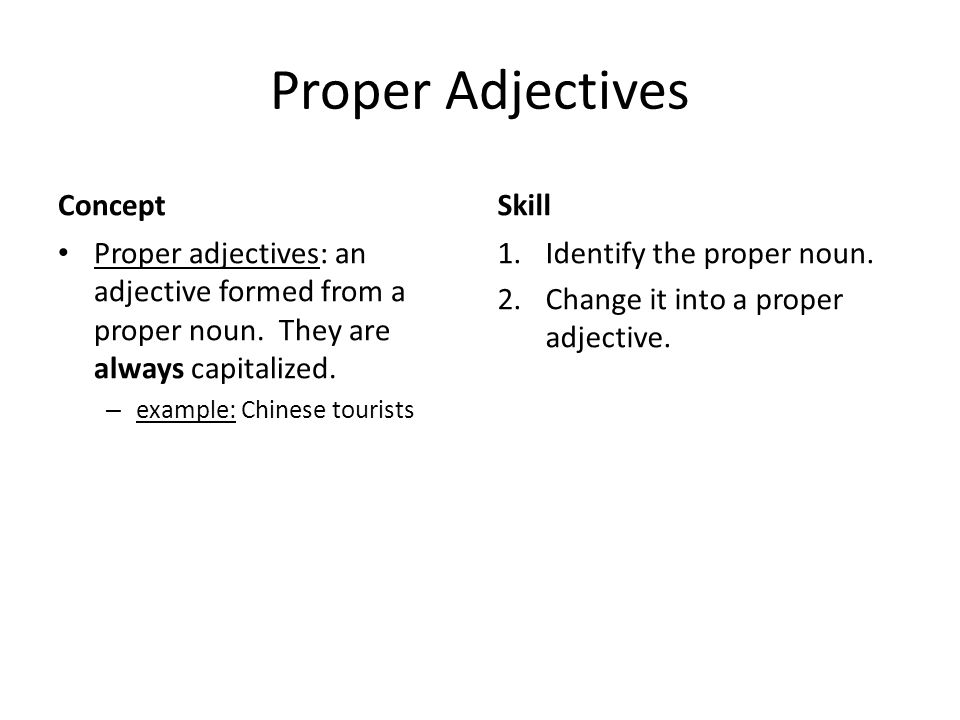 Proper Adjectives Concept Skill