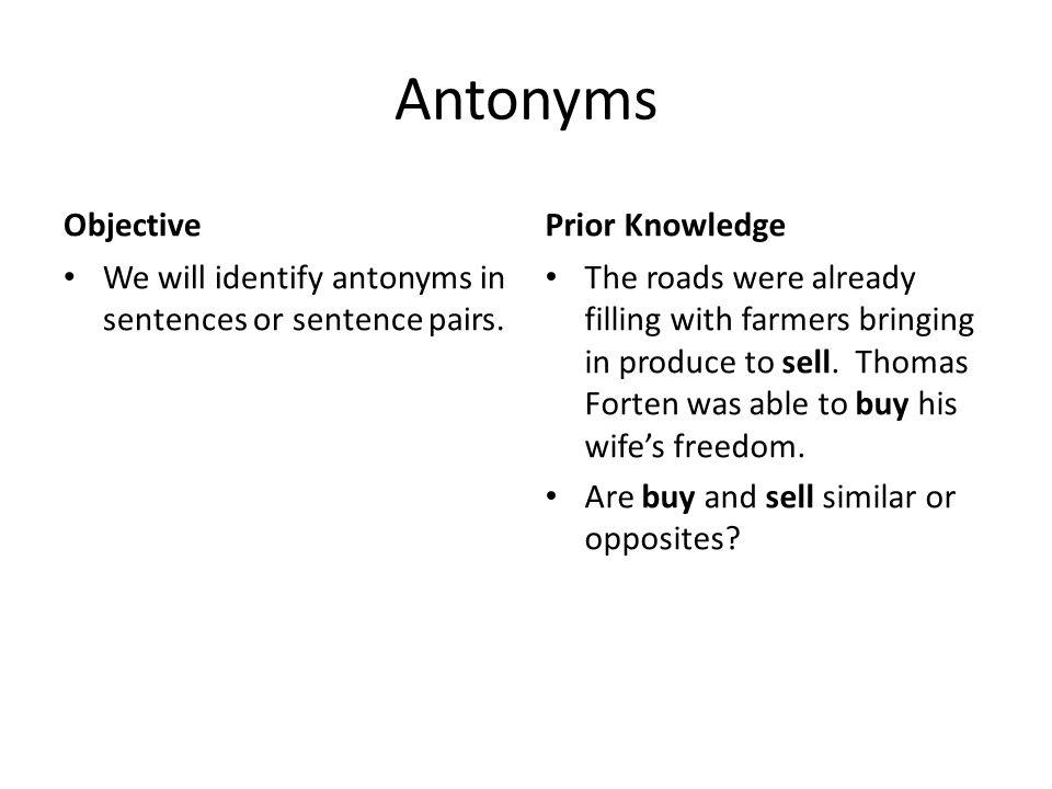 Antonyms Objective Prior Knowledge