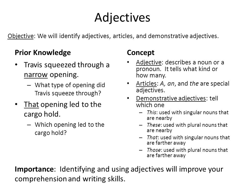 Adjectives Prior Knowledge Concept