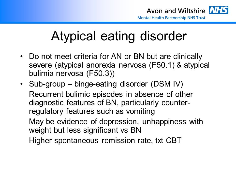 Atypical eating disorder