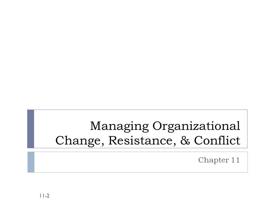 Managing Organizational Change, Resistance, & Conflict