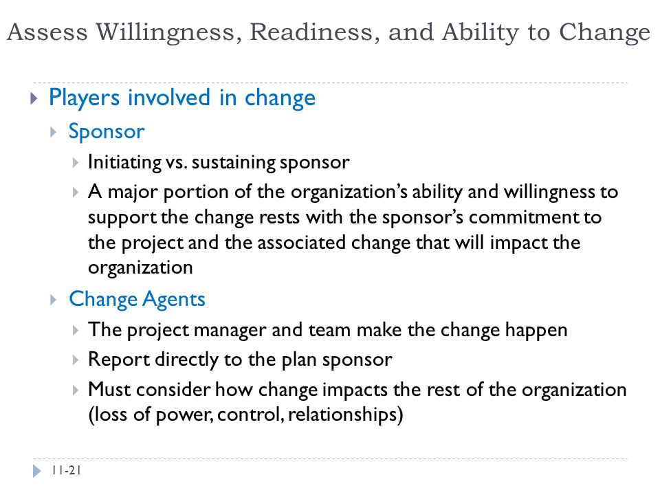 Assess Willingness, Readiness, and Ability to Change