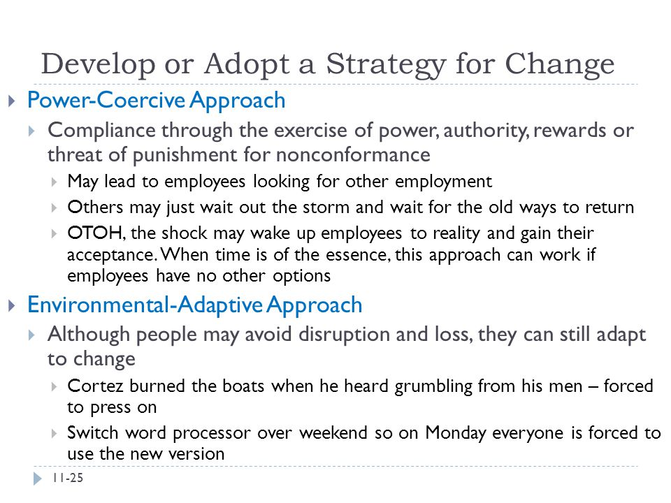 Develop or Adopt a Strategy for Change