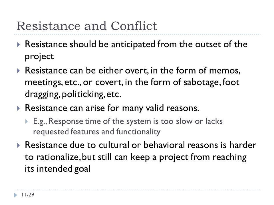 Resistance and Conflict
