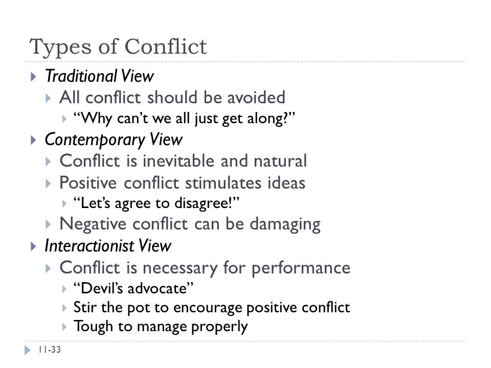 Types of Conflict Traditional View All conflict should be avoided