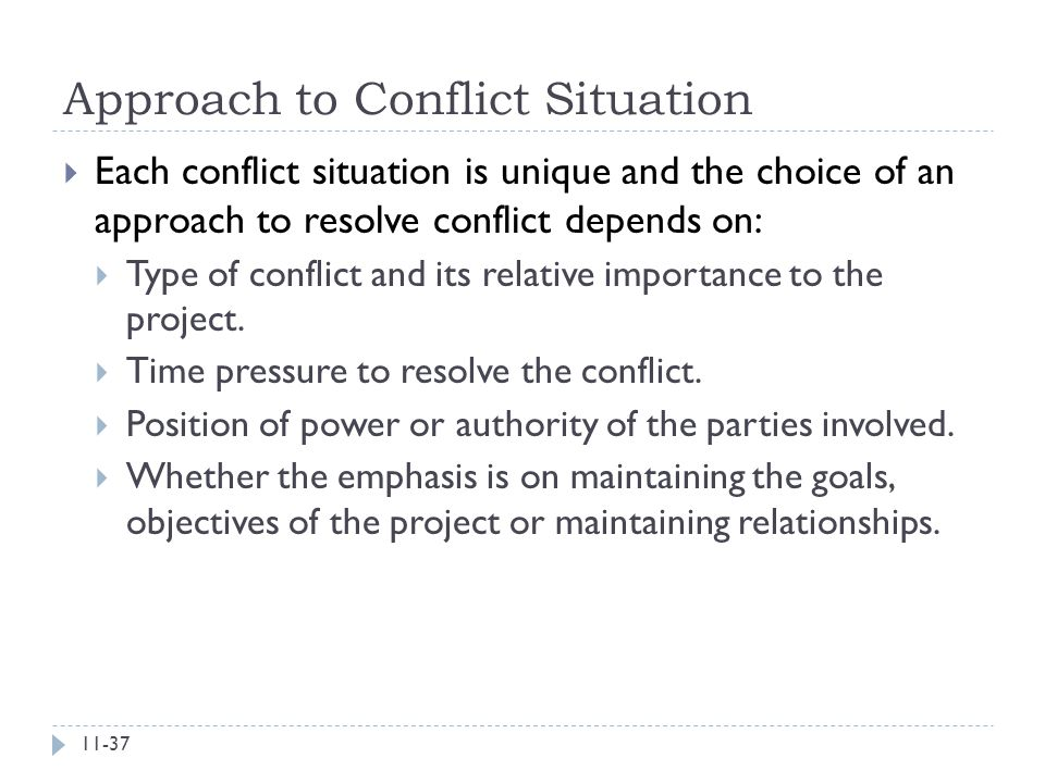 Approach to Conflict Situation