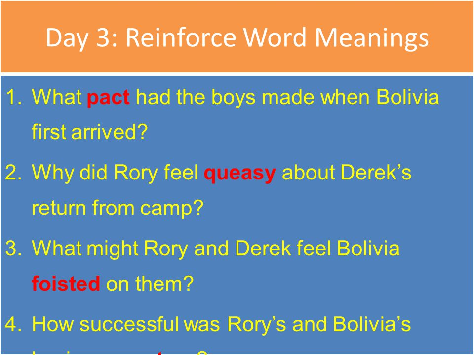 Day 3: Reinforce Word Meanings