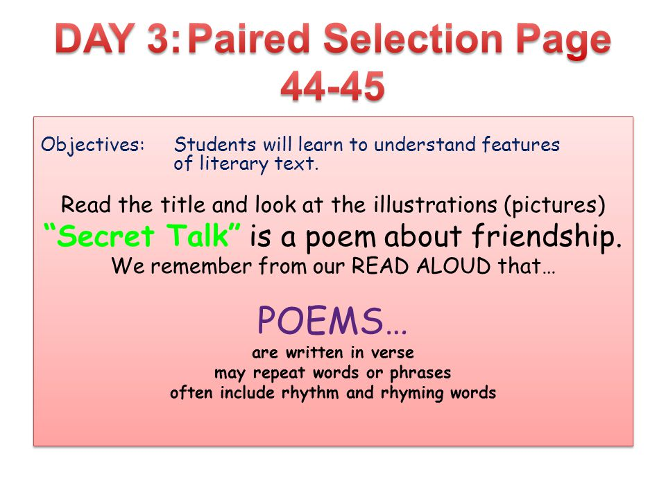 DAY 3: Paired Selection Page 44-45