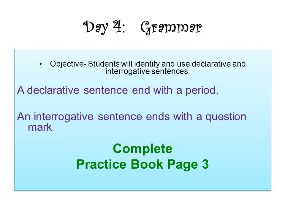 Day 4: Grammar Complete Practice Book Page 3