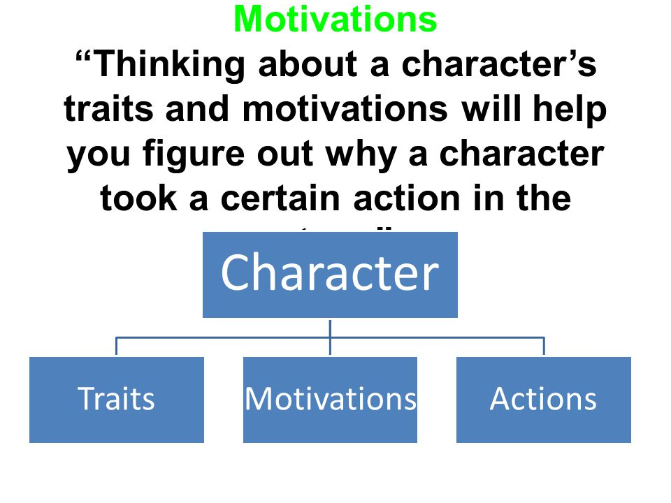 Character's Traits and Motivations Thinking about a character's traits and motivations will help you figure out why a character took a certain action in the story.