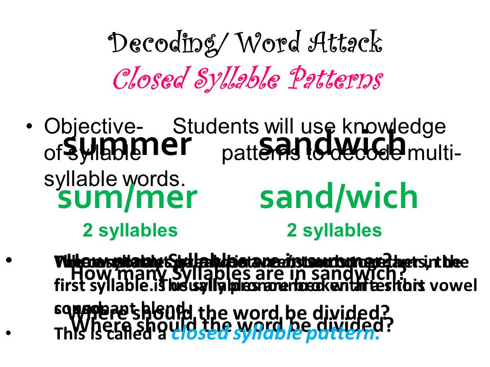 Decoding/ Word Attack Closed Syllable Patterns