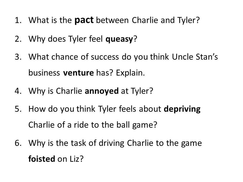 What is the pact between Charlie and Tyler