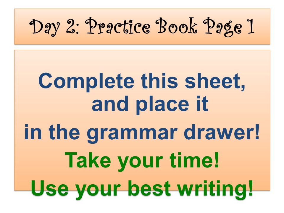 Day 2: Practice Book Page 1