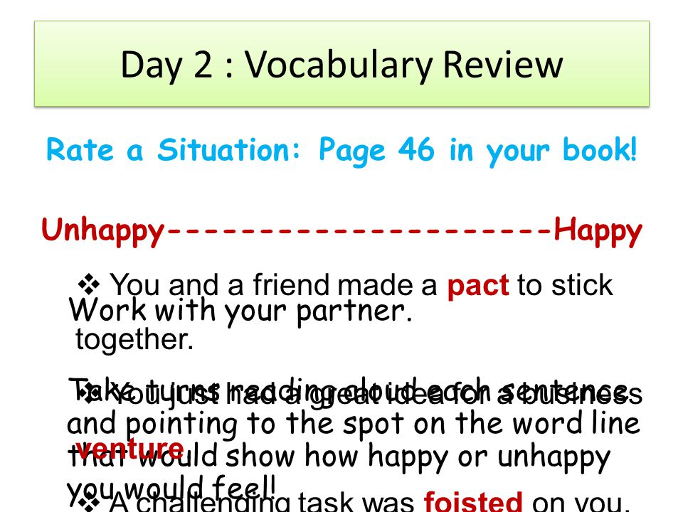 Day 2 : Vocabulary Review