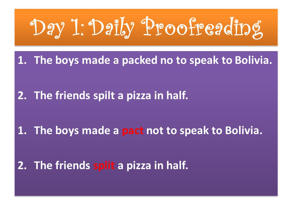 Day 1: Daily Proofreading