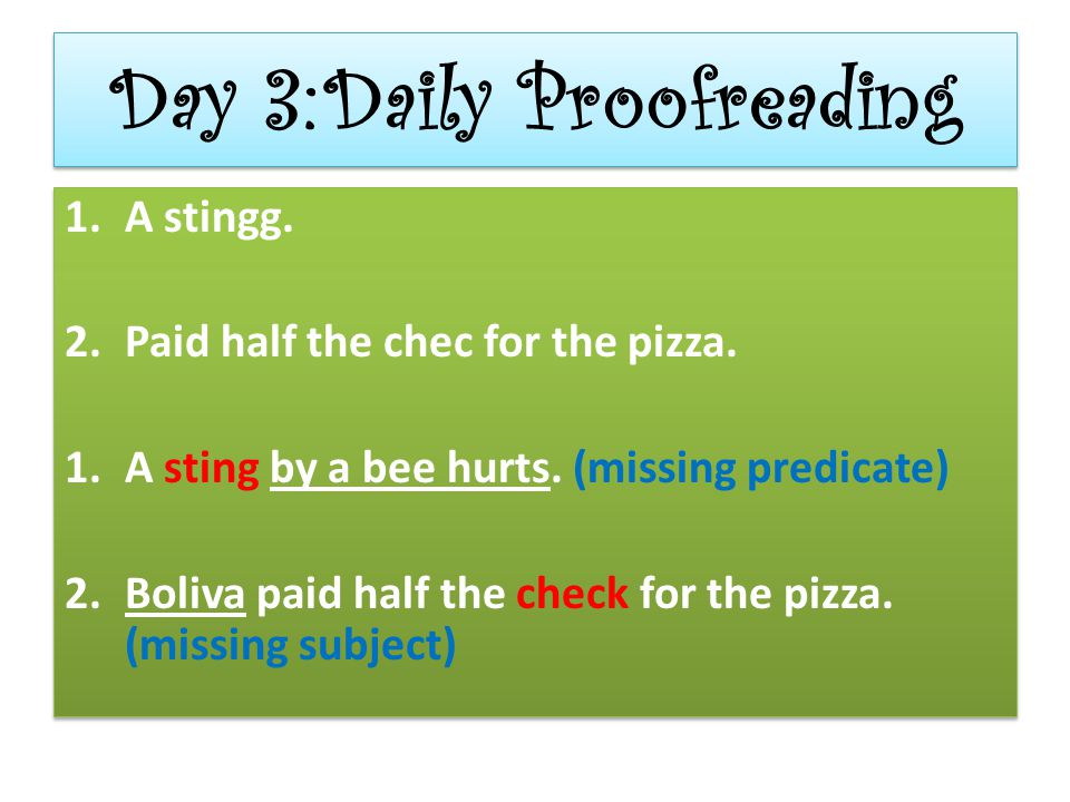 Day 3: Daily Proofreading