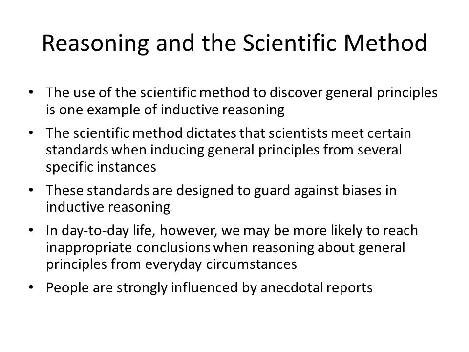 Reasoning and the Scientific Method