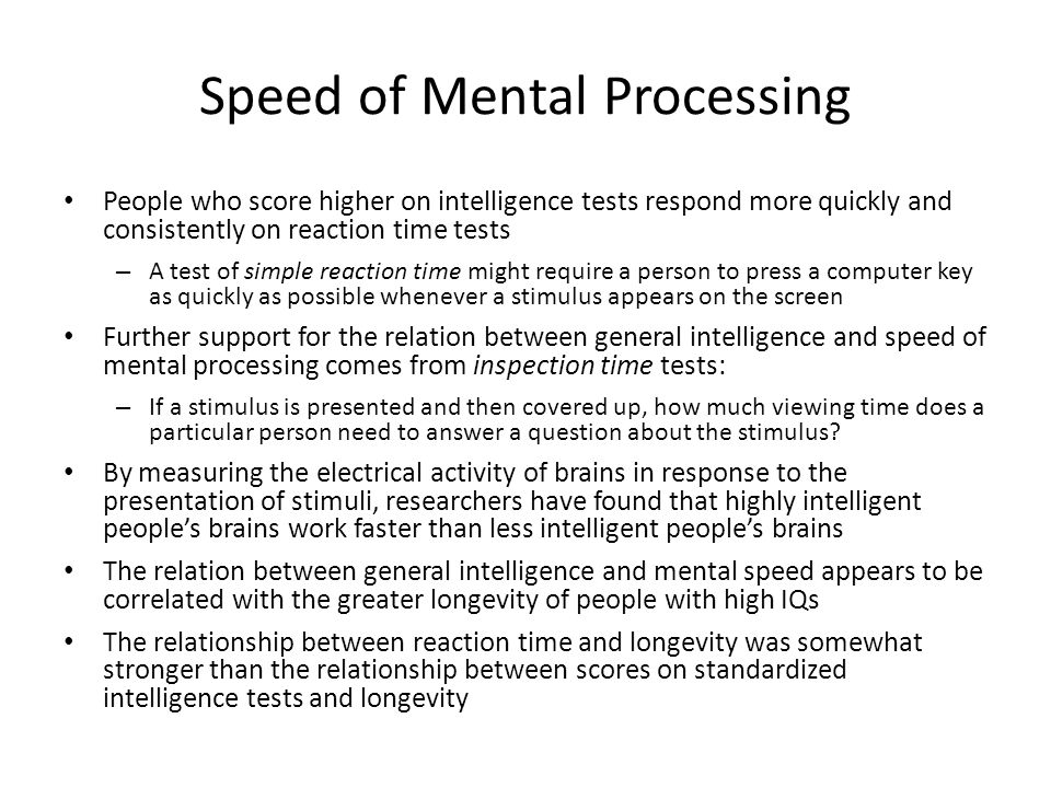Speed of Mental Processing