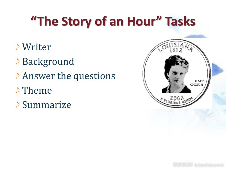 the story of an hour themes The story of an hour, is a short story written by kate chopin on april 19, 1894 it was originally published in vogue on december 6, 1894, as the dream of an hour.