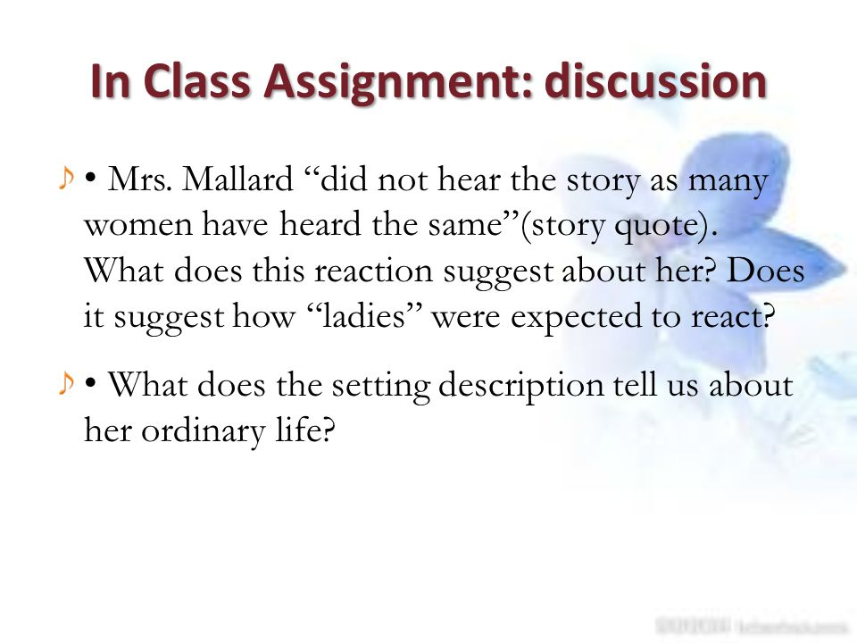 In Class Assignment: discussion