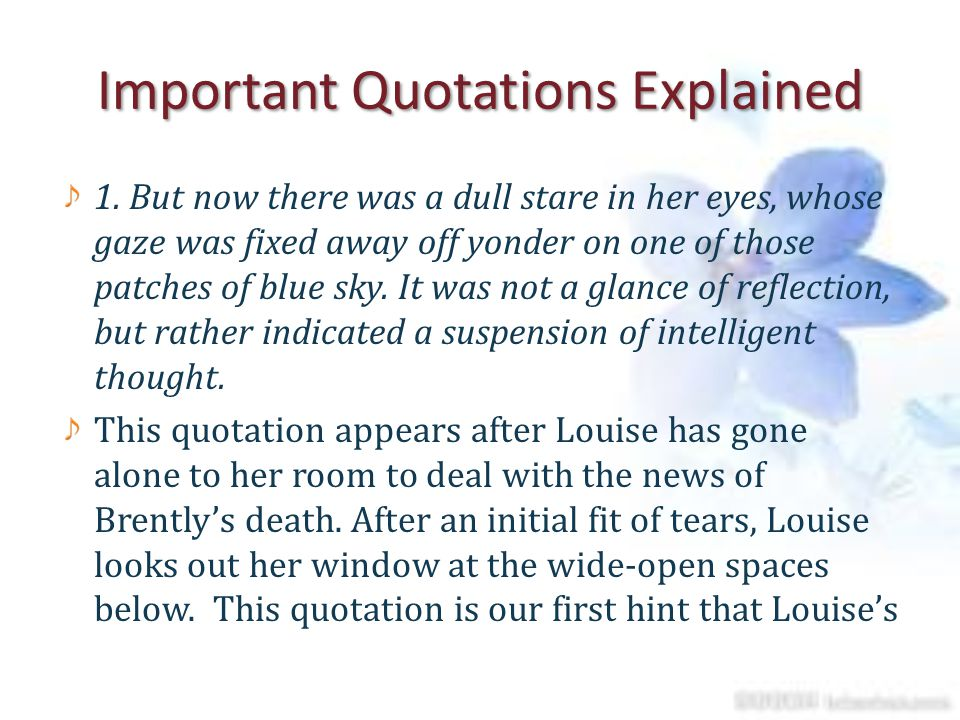 Important Quotations Explained