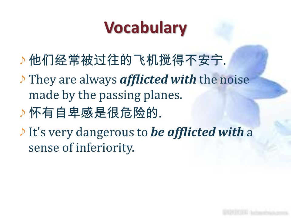 Vocabulary 他们经常被过往的飞机搅得不安宁.