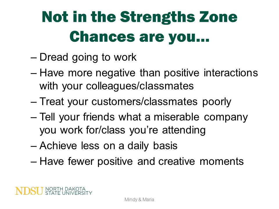 Not in the Strengths Zone Chances are you…