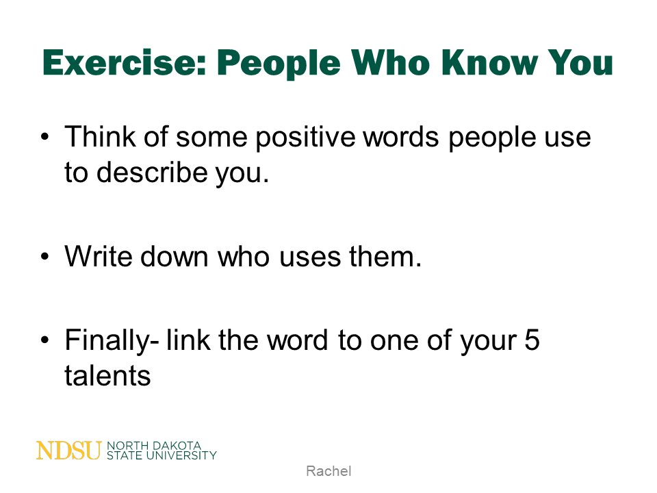 Exercise: People Who Know You