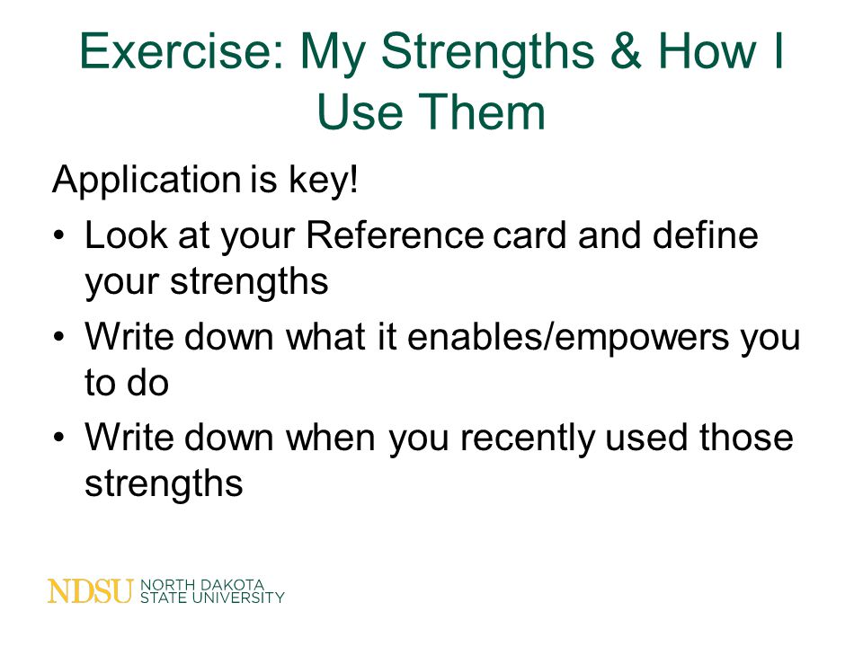 Exercise: My Strengths & How I Use Them