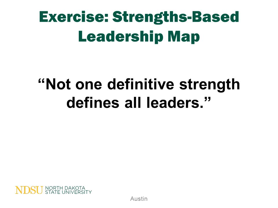Exercise: Strengths-Based Leadership Map