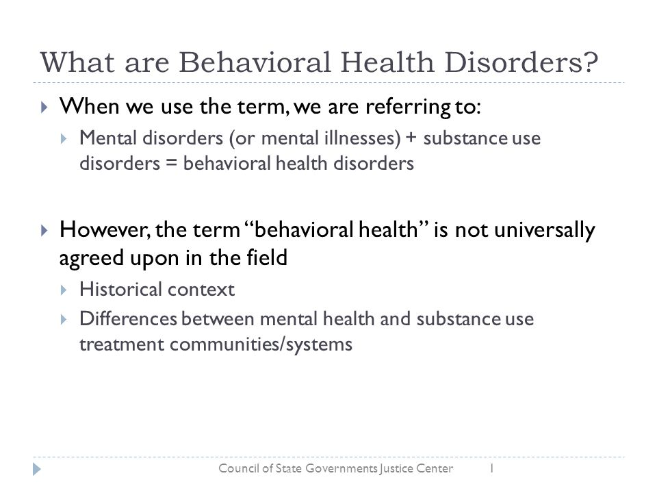 What are Behavioral Health Disorders