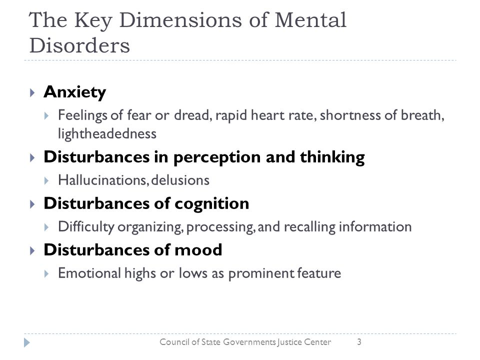 The Key Dimensions of Mental Disorders