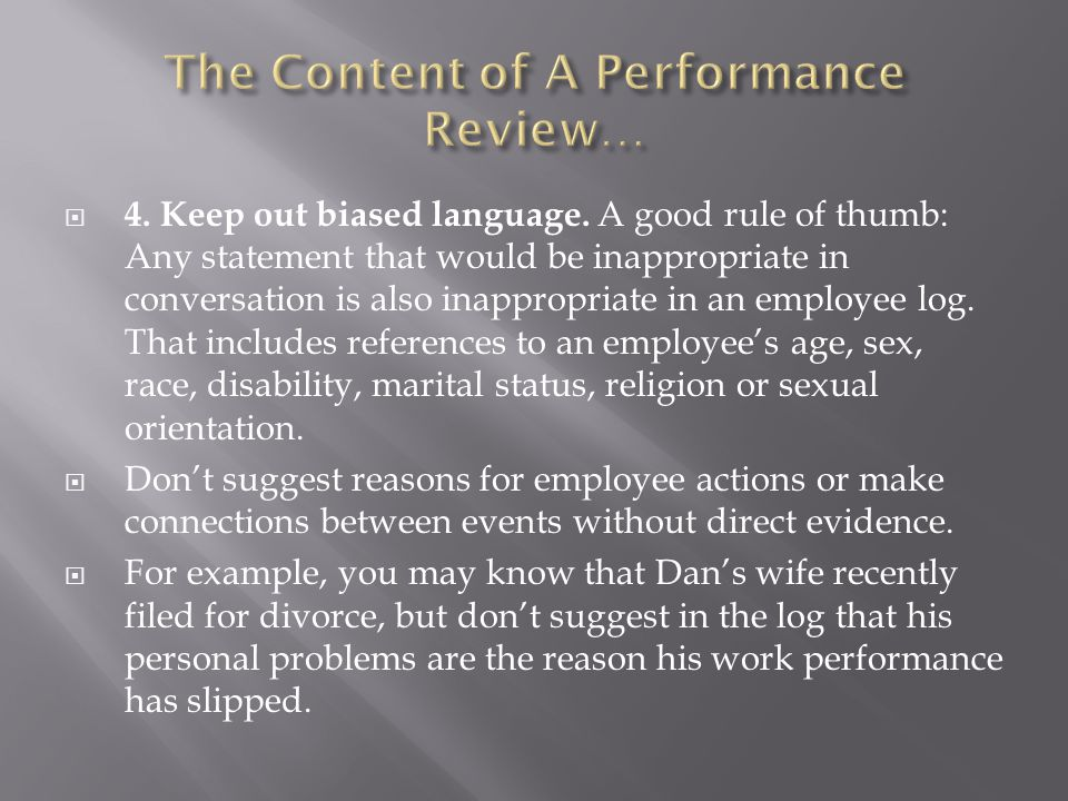 The Content of A Performance Review…