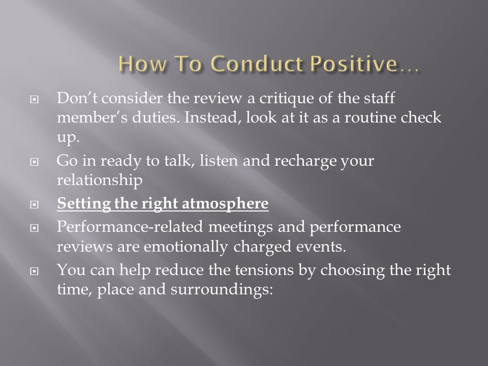 How To Conduct Positive…