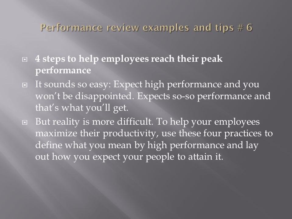 Performance review examples and tips # 6