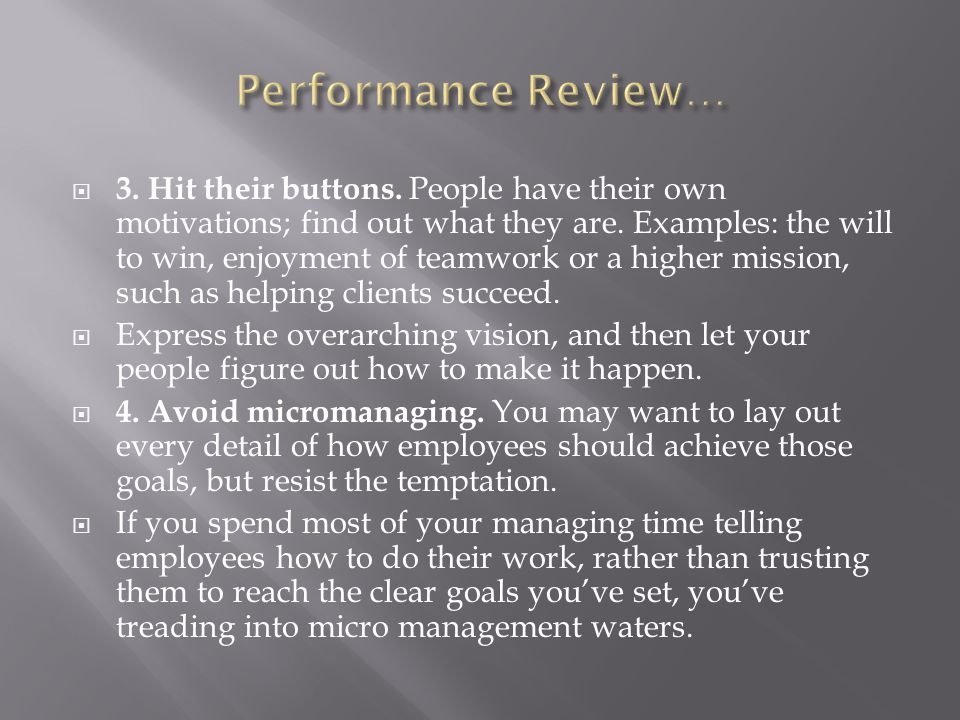 Performance Review…