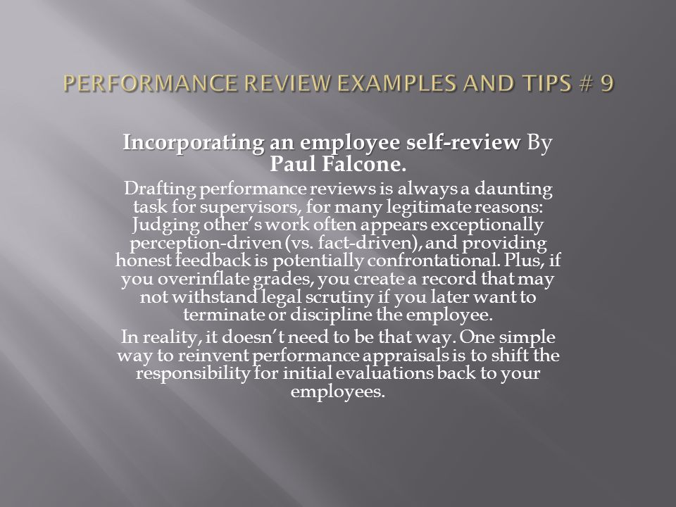Performance review examples and tips # 9