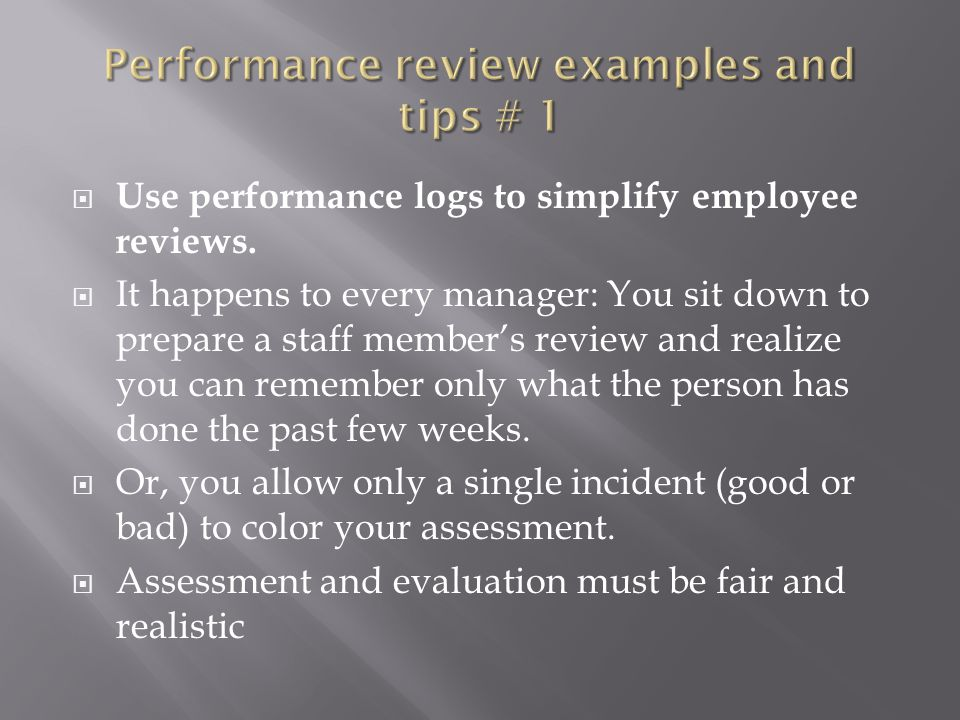 Performance review examples and tips # 1