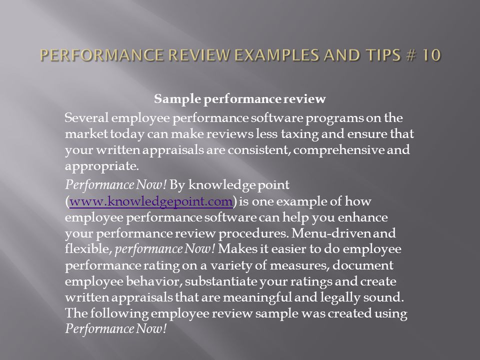 Performance review examples and tips # 10