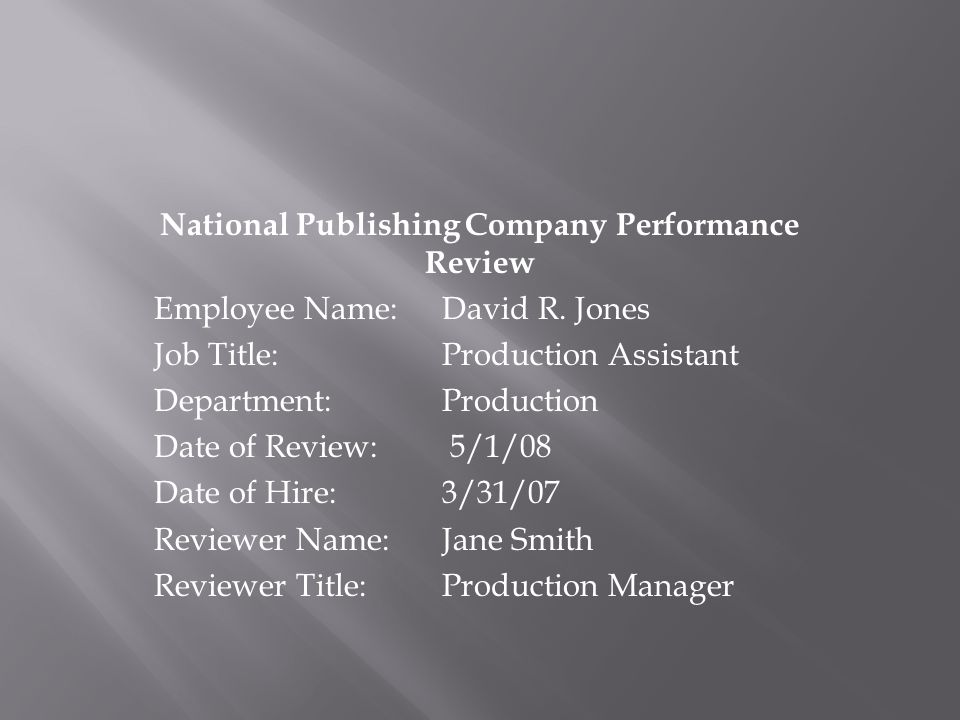 National Publishing Company Performance Review