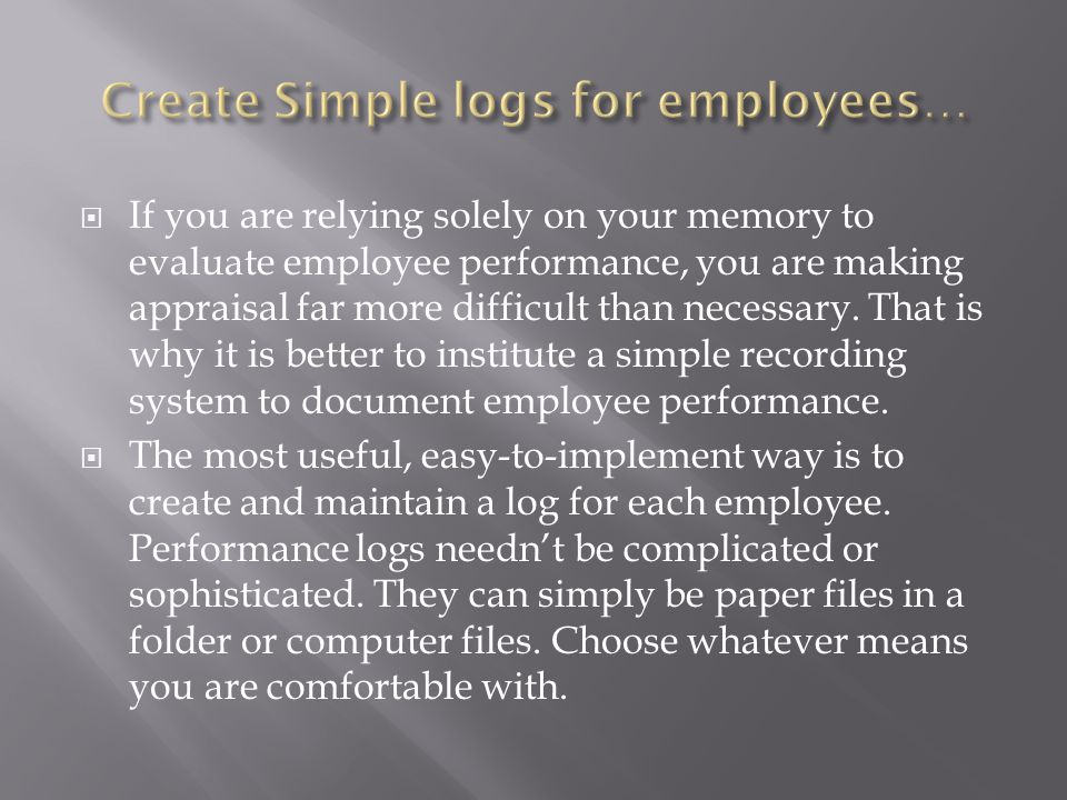 Create Simple logs for employees…