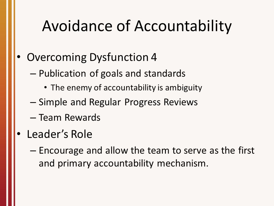 Avoidance of Accountability