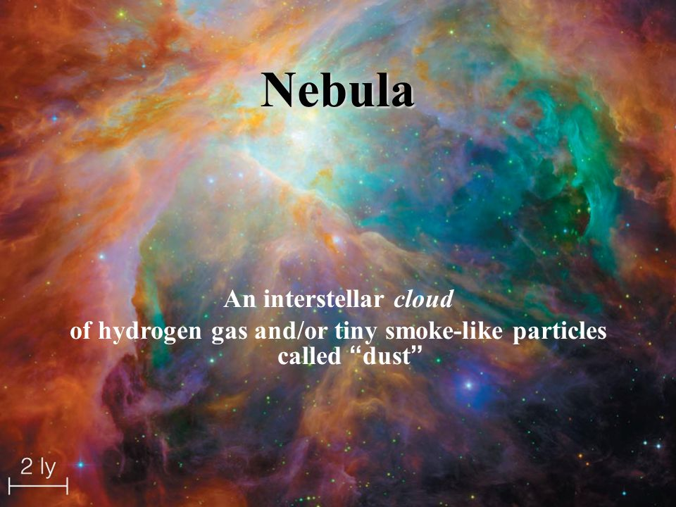 of hydrogen gas and/or tiny smoke-like particles called dust