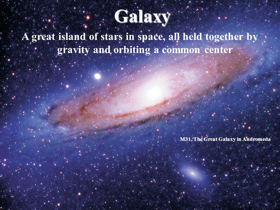 Galaxy A great island of stars in space, all held together by gravity and orbiting a common center.