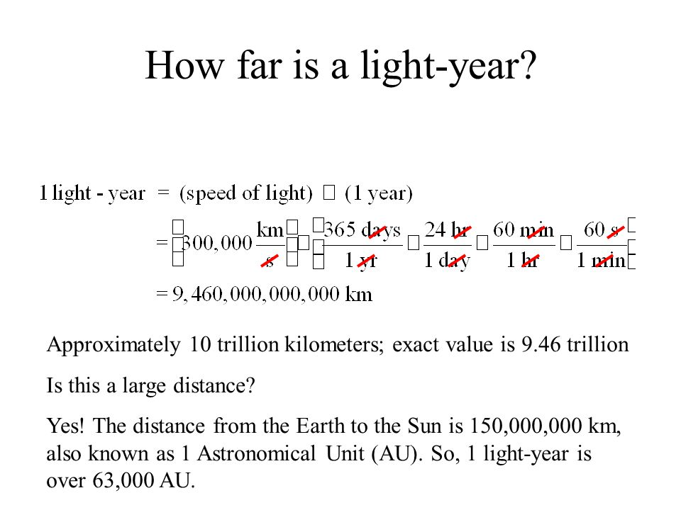 How far is a light-year Approximately 10 trillion kilometers; exact value is 9.46 trillion. Is this a large distance