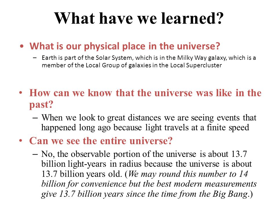 What have we learned What is our physical place in the universe