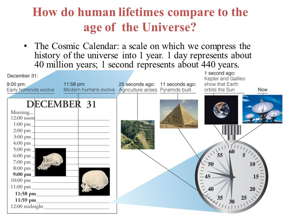 How do human lifetimes compare to the age of the Universe