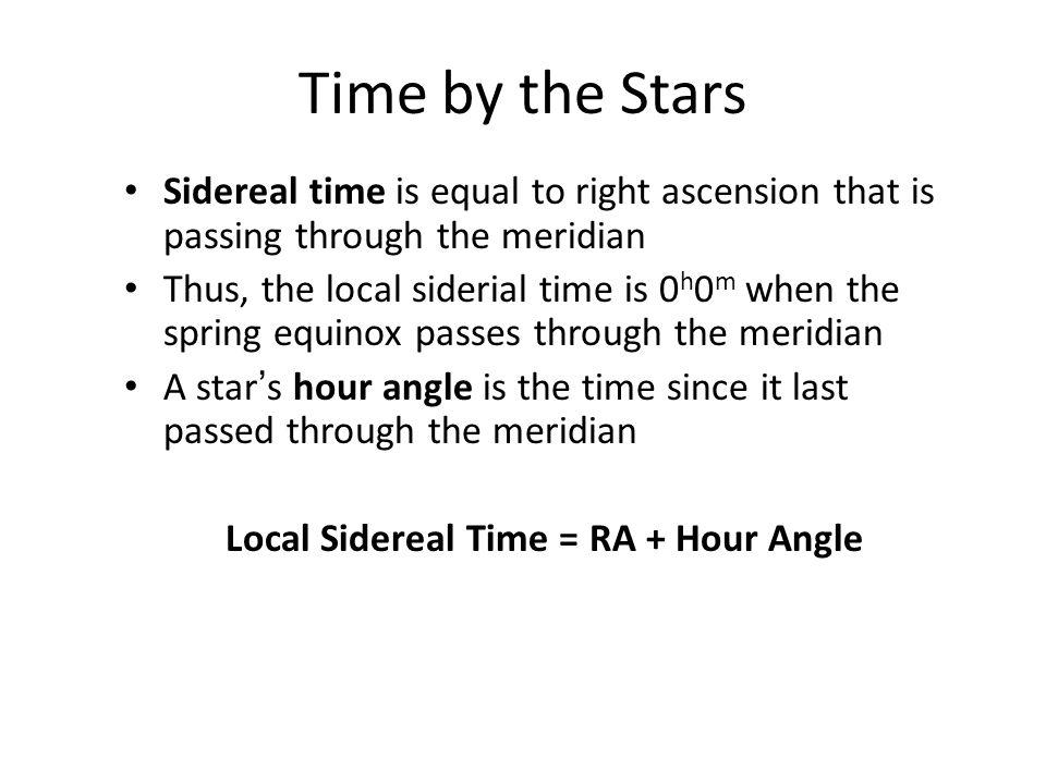 Local Sidereal Time = RA + Hour Angle